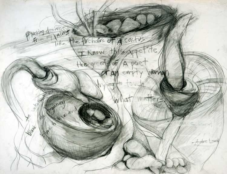 """Audre Lord Poem Drawing - Graphite 50"""" X 38"""""""