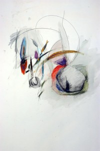 """Verdant Joy"" Stage 1 Oil Pastel-Ink 52"" X 38"""