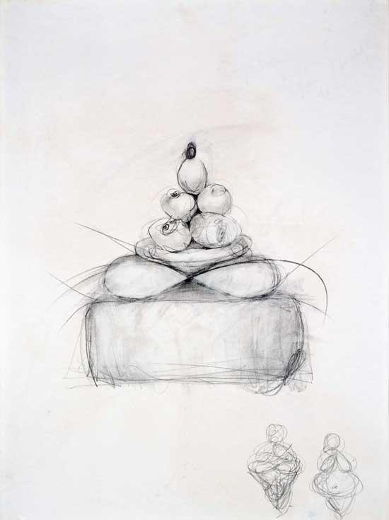 "Study for Fertility Buddha Graphite 24"" X 18"""