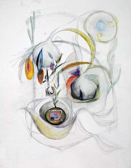 """Verdant Joy"" Graphite Watercolor Ink 48"" X 38"""